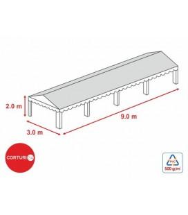 3x9 m-Prelată acoperiș 500 gr/m2 - 2m înălțime lateral