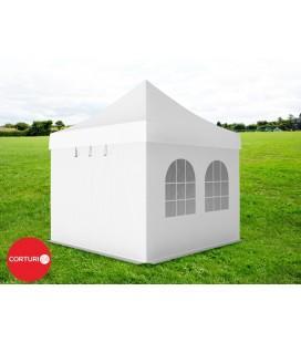 3x3 m Pavilion Pliabil Professional Aluminiu 50 mm, cu 4 ferestre, PVC 520 gr /m², alb, ignifug