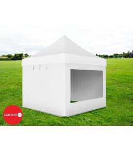 3x3 m Pavilion Pliabil Professional Aluminiu 50 mm, cu 2 ferestre panoramic, PVC 520 gr /m², alb, ignifug