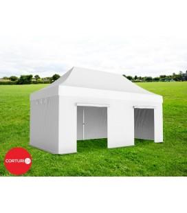 3x6 m Pavilion Pliabil Professional Aluminiu 50 mm, fara ferestre, PVC 520 gr /m², alb, ignifug