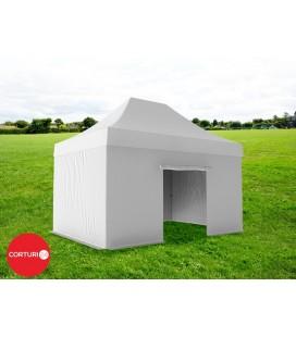 3x4,5 m Pavilion Pliabil Professional Aluminiu 50 mm, fara ferestre, PVC 520 gr /m², alb, ignifug