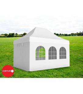 3x4,5 m Pavilion Pliabil Professional Aluminiu 50 mm, cu 6 ferestre, PVC 520 gr /m², alb, ignifug