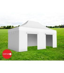 4x6 m Pavilion pliabil Professional Aluminiu 50 mm, fara ferestre, PVC 520 gr /m², alb, ignifug