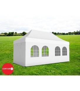 3x6 m Pavilion Pliabil Professional Aluminiu 50 mm, cu 6 ferestre, PVC 520 gr /m², alb, ignifug
