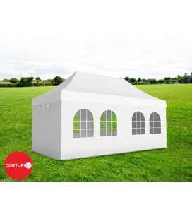 3x6 m Pavilion Pliabil Professional Aluminiu 50 mm, cu 6 ferestre, PVC 620 gr /m², alb, ignifug