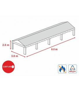 3x8 m-Prelată acoperiș 500 gr/m2  - 2m înălțime laterală, PVC ignifug alb