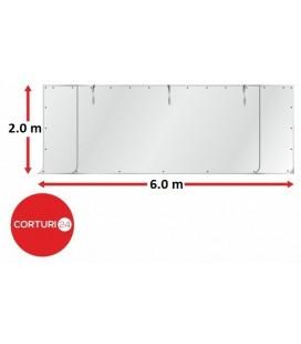 6x2 m Perete frontal - PVC 500 g/m², alb