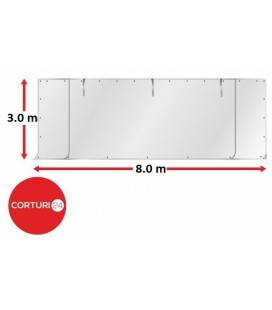 8m Perete frontal - PVC 500 g/m², alb