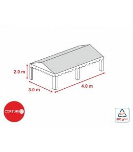 3x4 m-Prelată acoperiș 500 gr/m2 - 2m înălțime laterală
