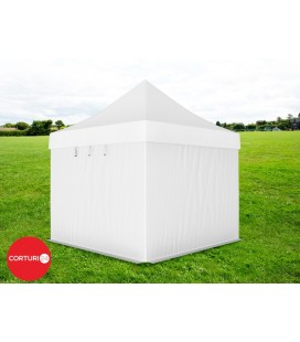 Pavilion pliabil Professional Aluminiu 50 mm, fara ferestre, PVC 620 gr /m², alb, ignifug