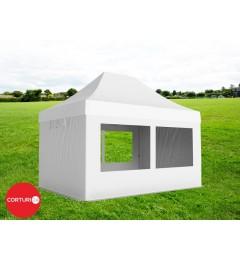 3x4,5 m Pavilion Pliabil Professional Aluminiu 50 mm, cu 4 ferestre panoramic, PVC 620 gr /m², alb, ignifug