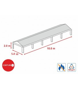 5x10m- Prelată acoperiș 500 gr/m2  - 2m înălțime laterală, PVC ignifug alb