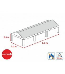 3x6 m-Prelată acoperiș 500 gr/m2  - 2m înălțime laterală, PVC ignifug alb