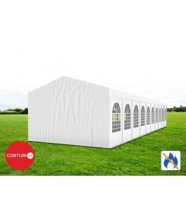 6x20 m Cort Evenimente PROFESSIONAL, PVC ignifug alb