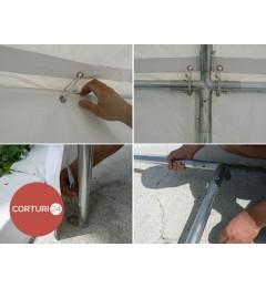 3x8 m Cort Evenimente PROFESSIONAL, PVC ignifug alb