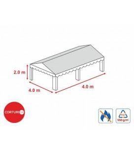 4x4 m-Prelată acoperiș ignifug 550 gr/m2 - 2m înălțime laterală