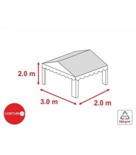 3x3 m-Prelată acoperiș 500 gr/m2 - 2m înălțime laterală