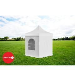 3x3 m Pavilion Pliabil Professional Aluminiu 50 mm, cu 4 ferestre, PVC 620 gr /m², alb, ignifug