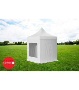 Pavilion Pliabil Professional Aluminiu 50 mm, cu 2 ferestre panoramic, PVC 620 gr /m², alb, ignifug