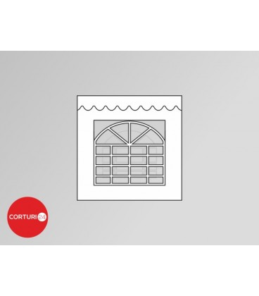 Prelată laterală cu fereastră,  PVC 500 gr/m2  - 2x 2m